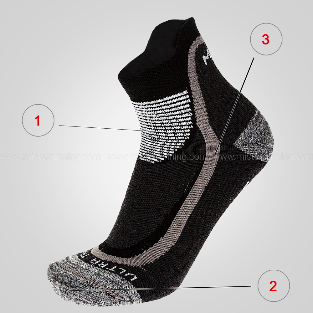 Mico Ultra Trail Professional Medium Calze - Grey/Black