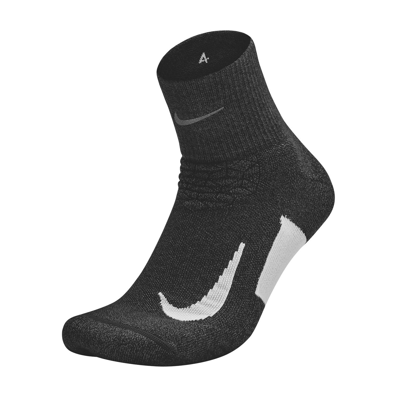 Nike Elite Cushion Quarter Running Socks - Black/White