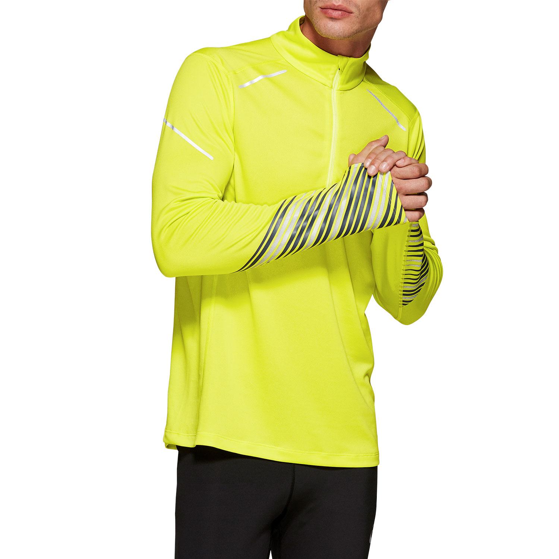 Asics Lite Show 1/2 Zip Shirt - Yellow/Grey