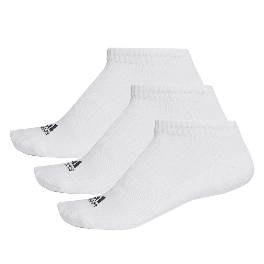 Adidas Running 3 Stripes Cushioned No-Show x 3 Socks - White