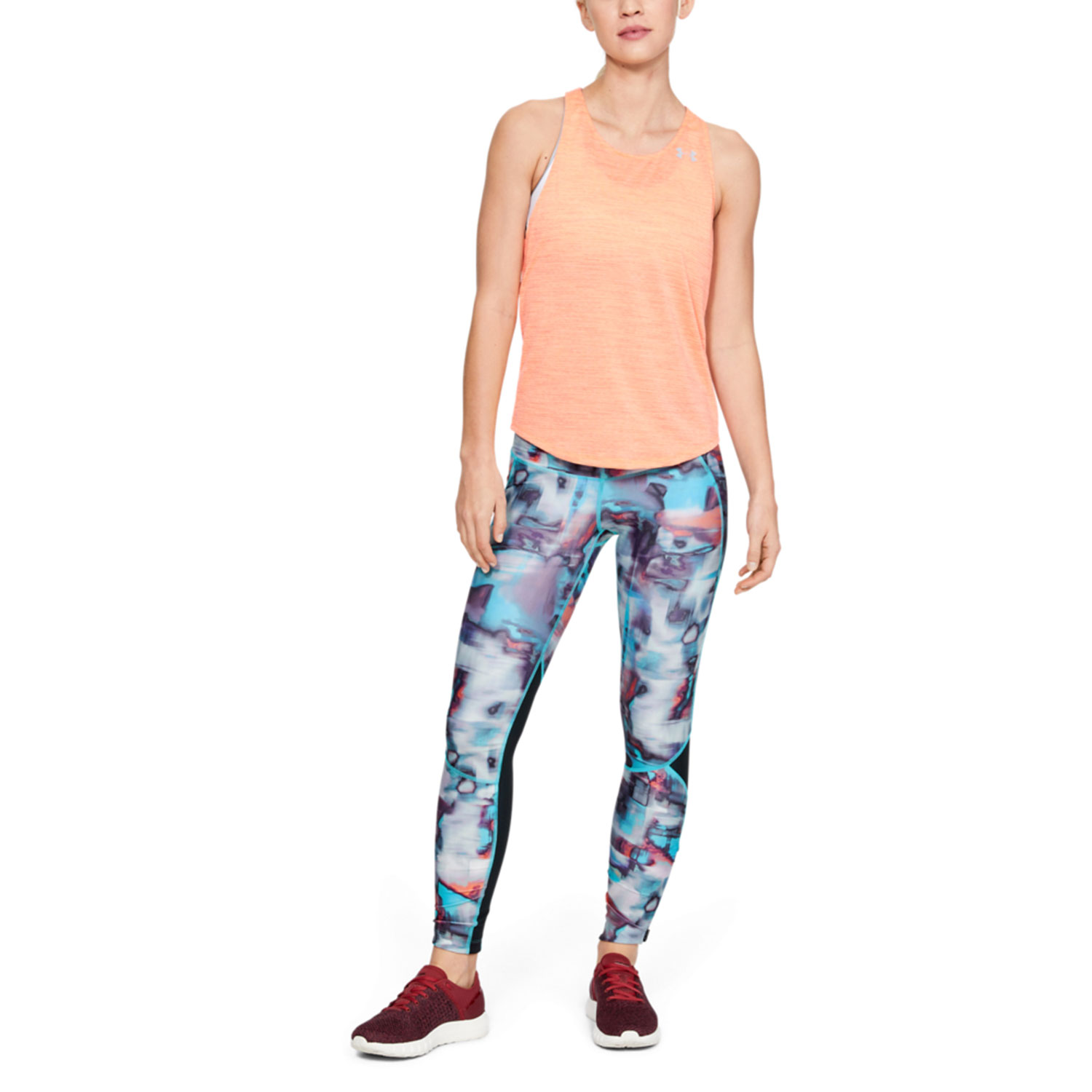 Under Armour Fly Fast Printed Tights - Black/Breathtaking Blue/Hyper Blur