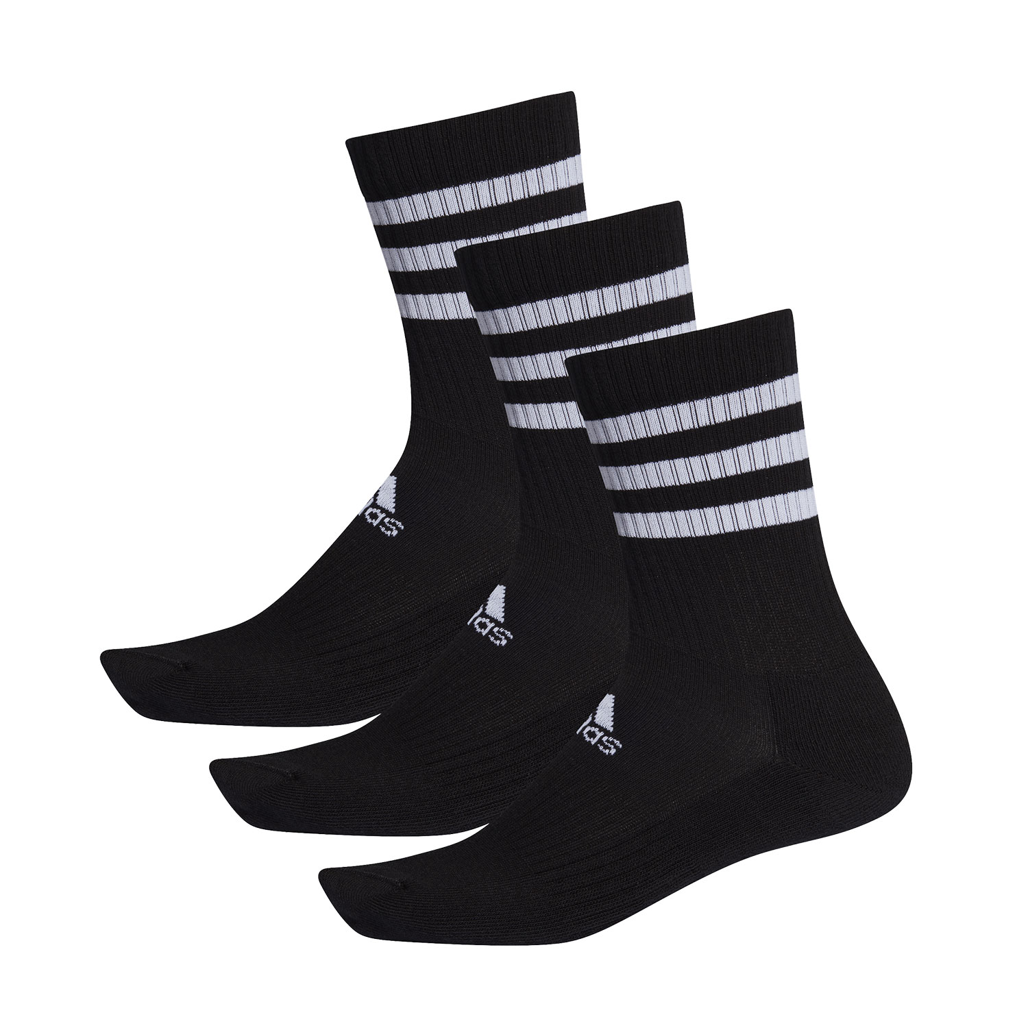 Adidas 3 Stripes Cushioned Crew x 3 Socks - Black