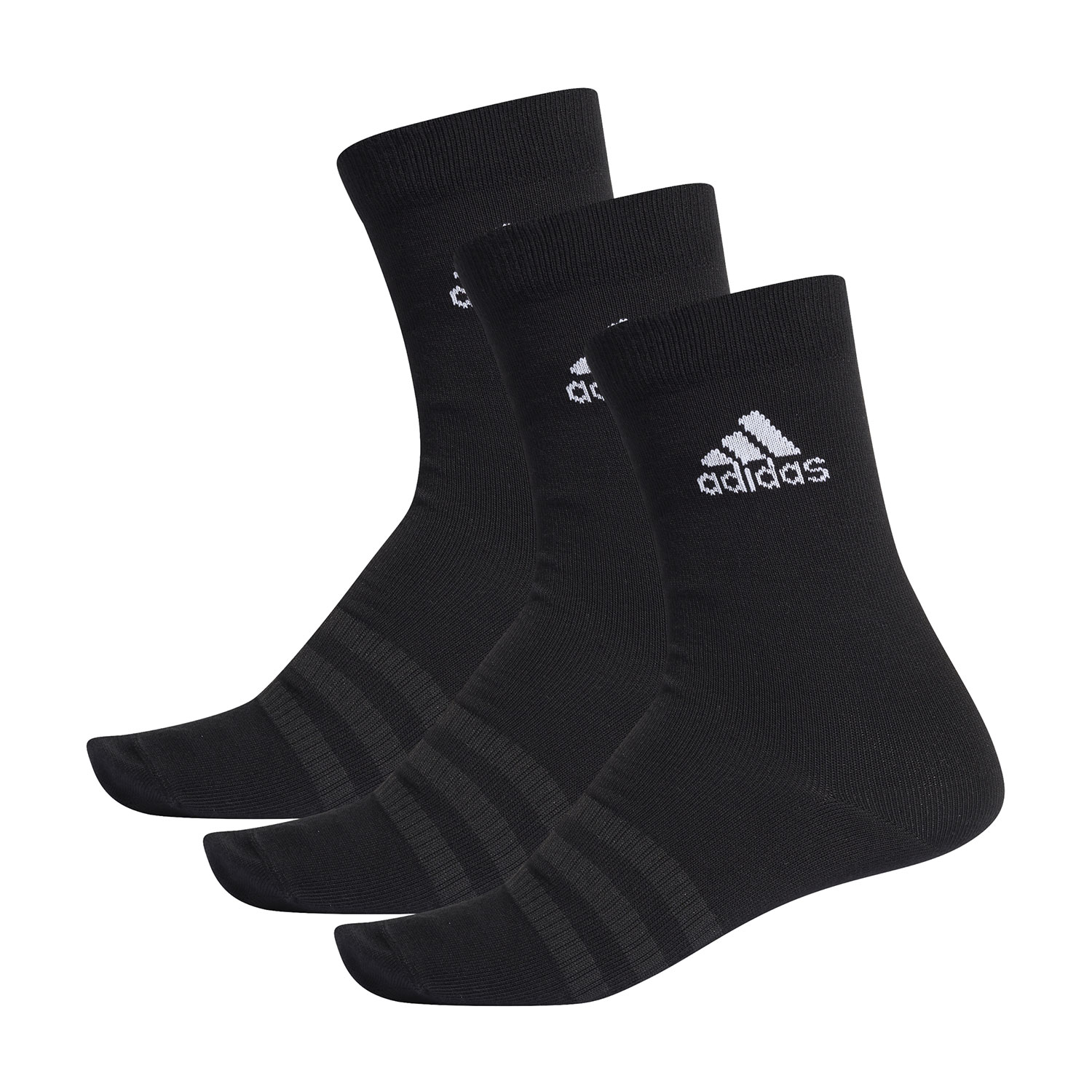 Adidas Lightweight Crew x 3 Socks - Black