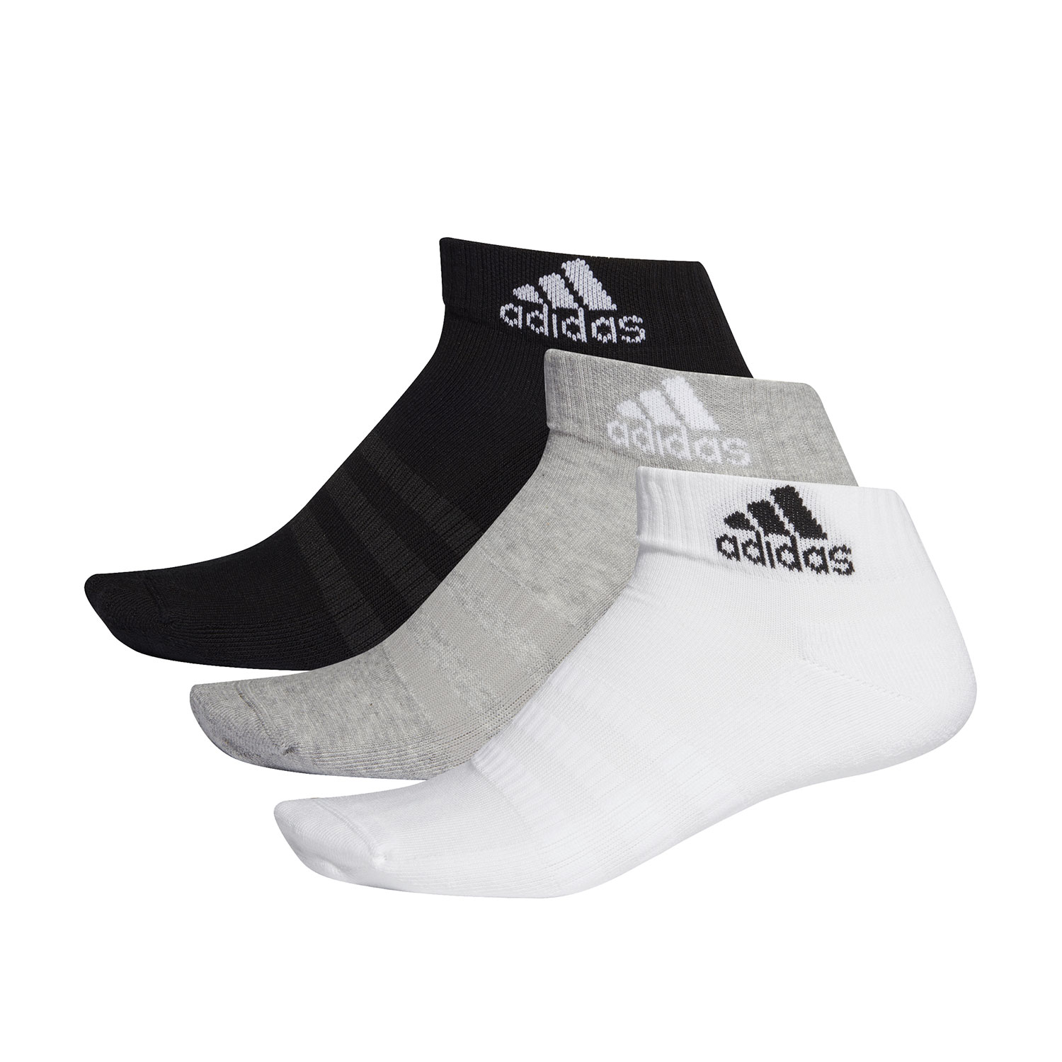 Adidas Cushioned Ankle x 3 Socks - Medium Grey Heather/White/Black