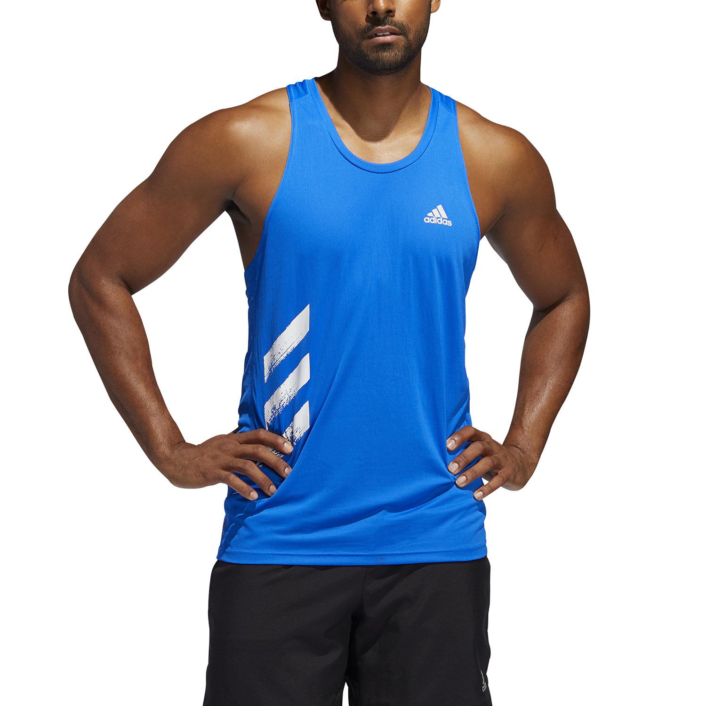 Adidas Own The Run 3 Stripes Tank - Glory Blue