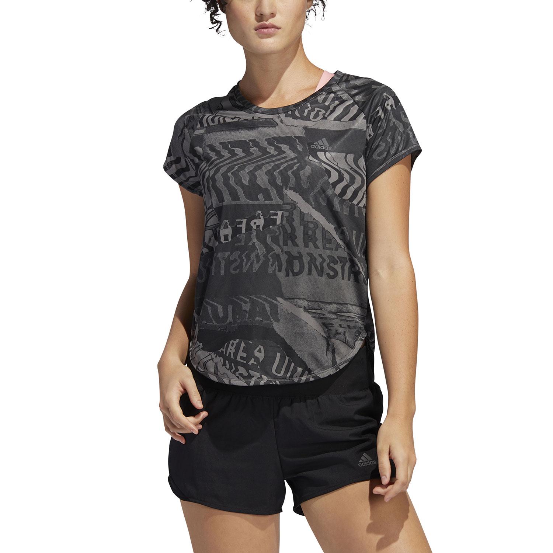 Adidas Own The Run City Clash T-Shirt - Grey Four F17/Black