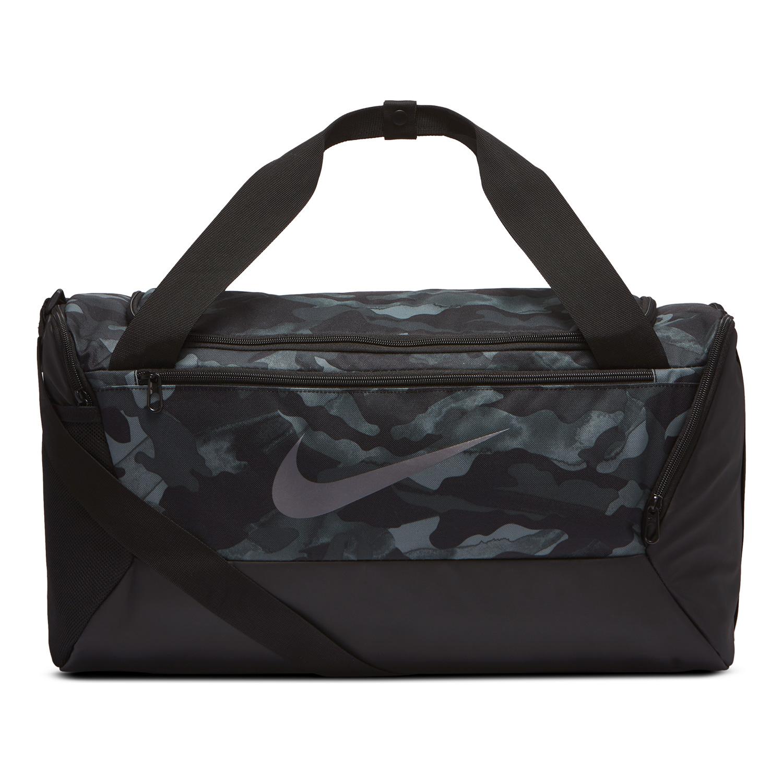Nike Brasilia Print Small Duffle - Light Smoke Grey/Black/Metallic Cool Grey