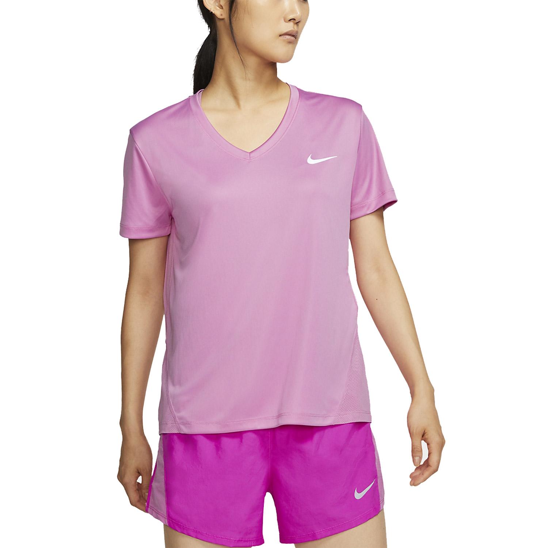 Nike Miler V-Neck T-Shirt - Magic Flamingo/Reflective Silver