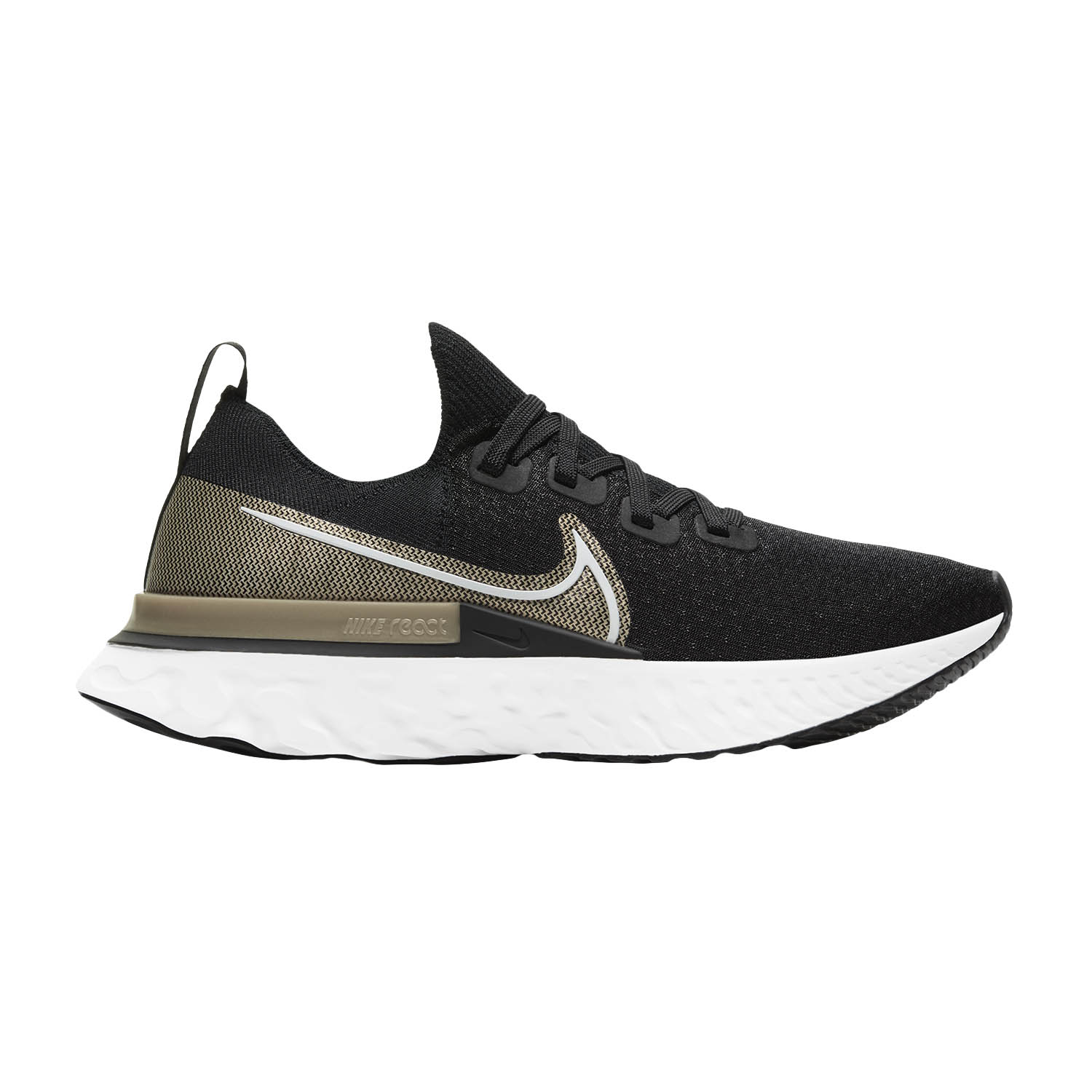 Nike React Infinity Run Flyknit Premium - Black/White/Mtlc Gold Silk/Newsprint
