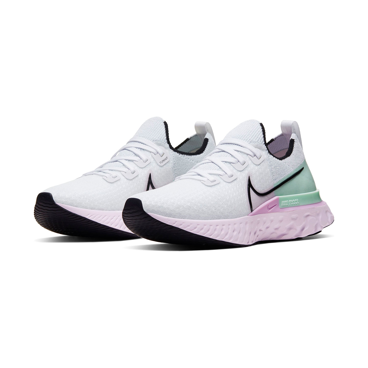 Nike React Infinity Run Flyknit - White/Black/Iced Lilac/Pistachio Frost