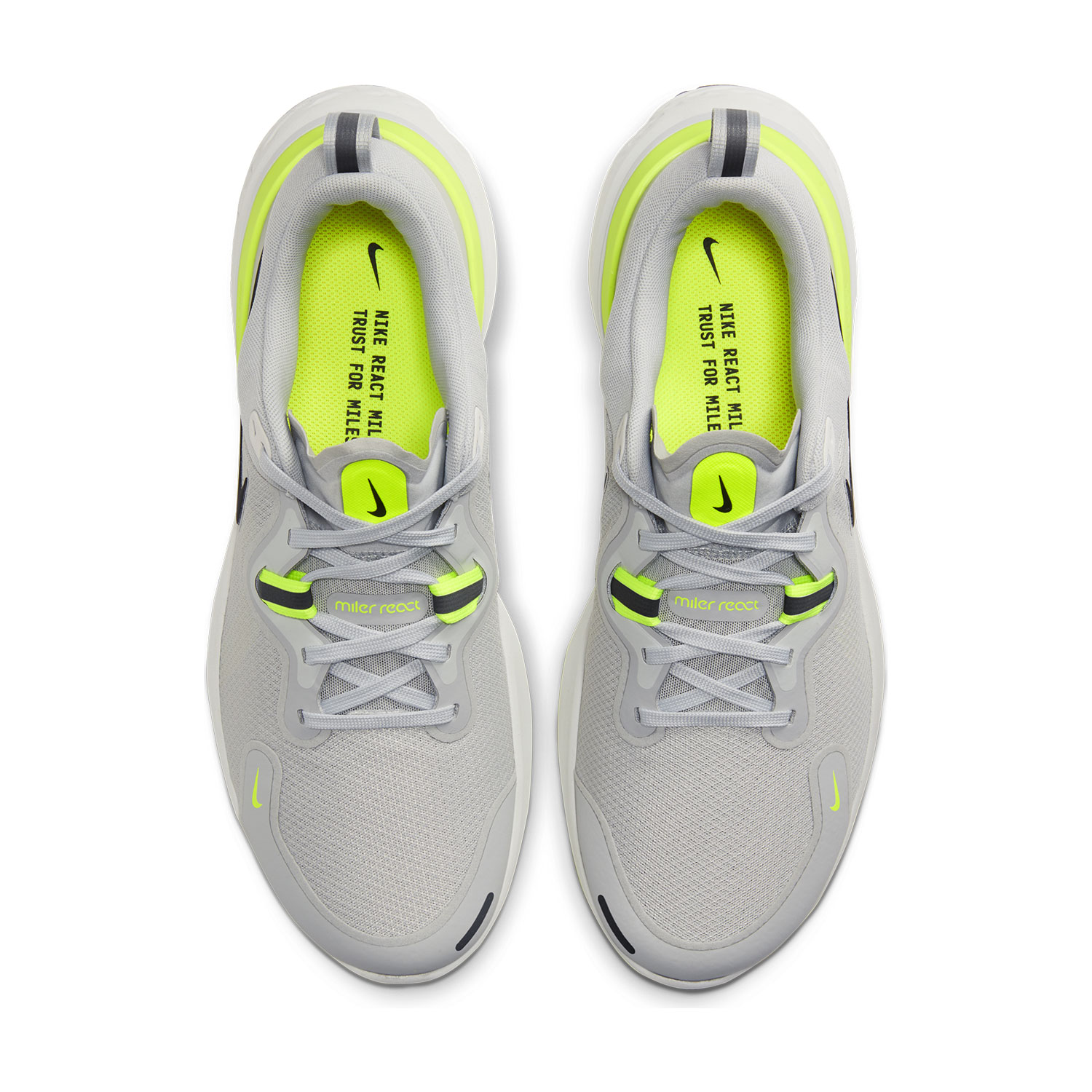 Nike React Miler Grey FogBlackParticle GreyVolt