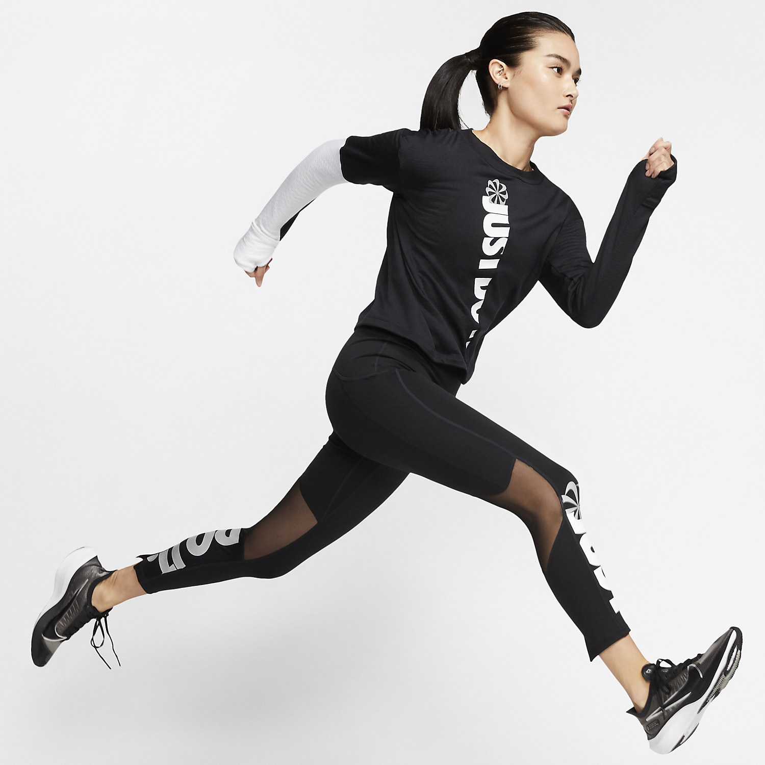 Nike Speed Just Do It 7/8 Tights - Black/White/Reflective Silver