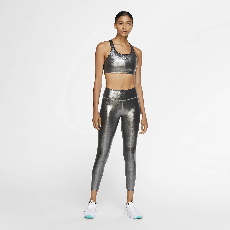 Nike Swoosh Icon Clash Sports Bra - Black/Metallic Silver