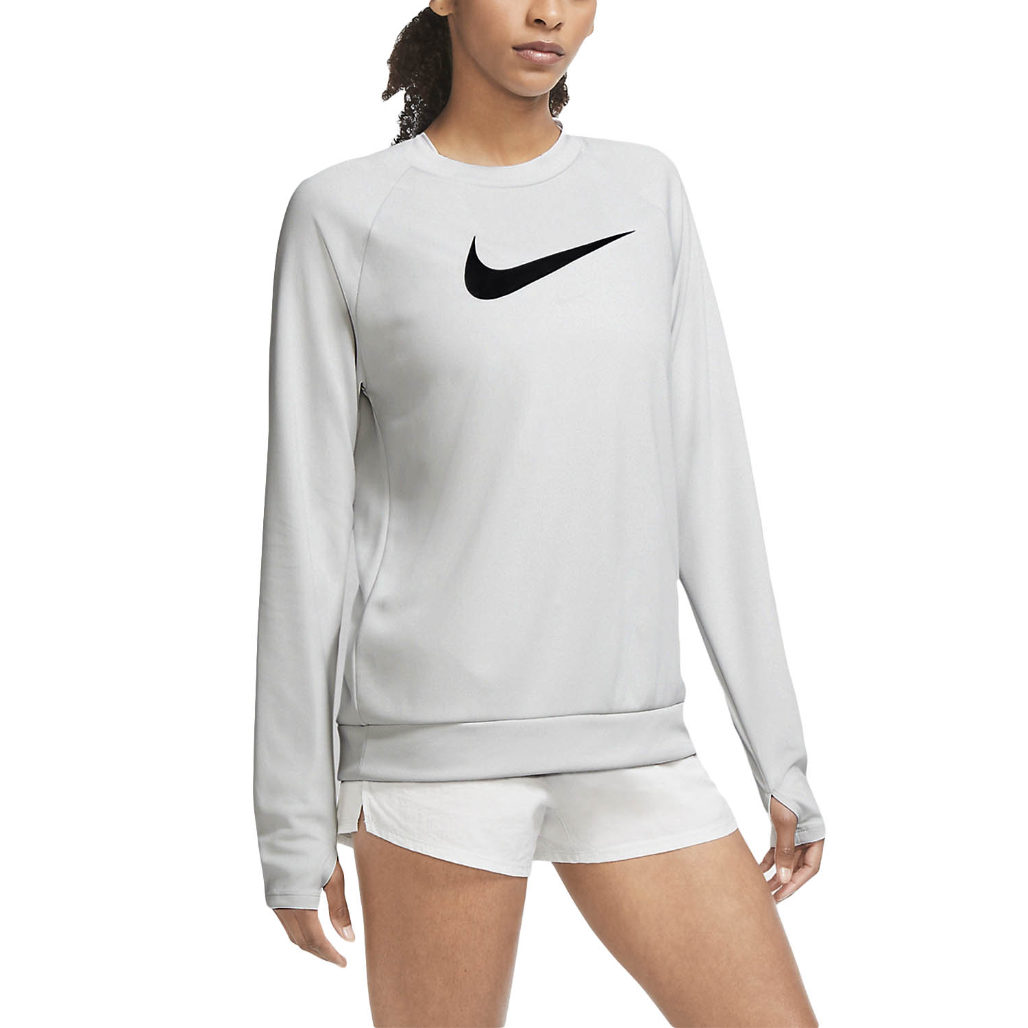 Nike Swoosh Run Crew Shirt - Gray Fog/Black