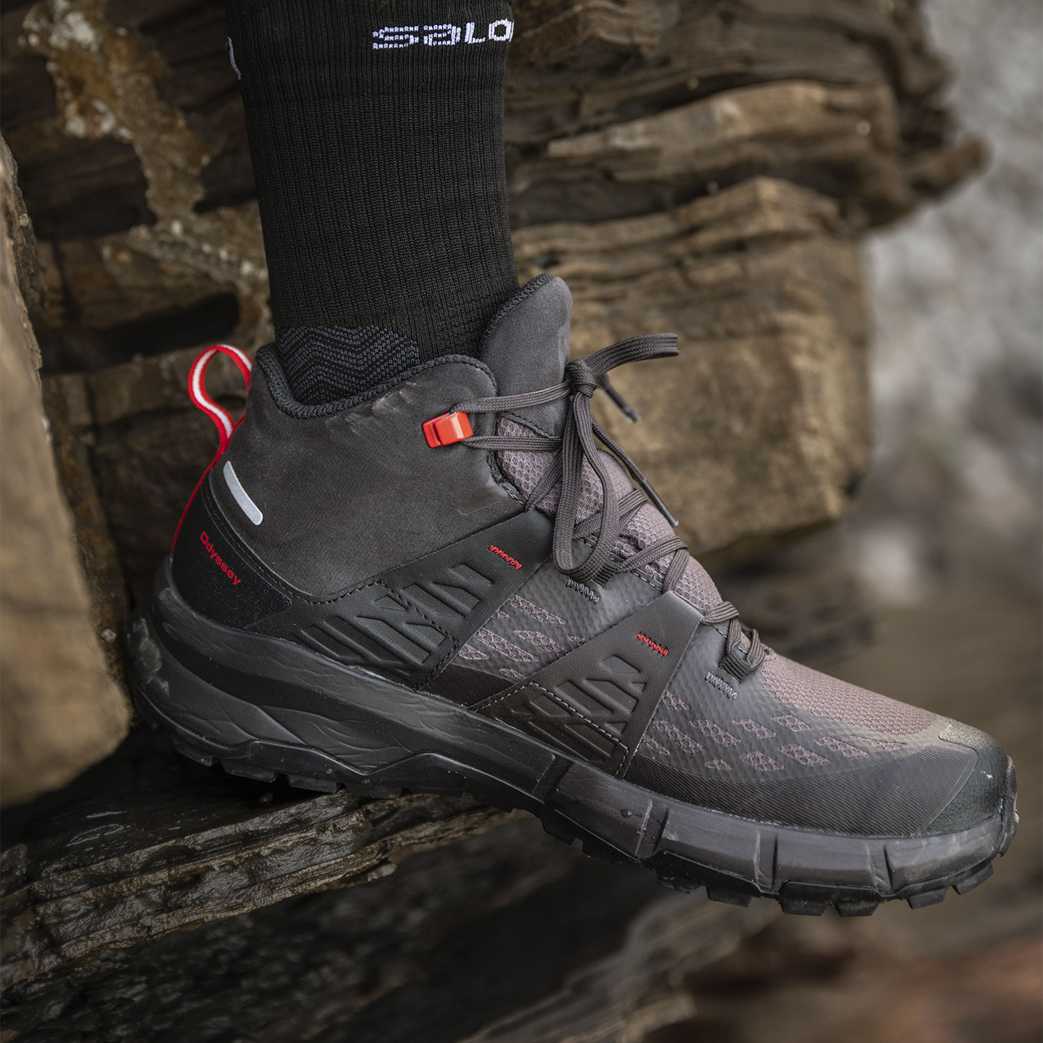 Salomon Odyssey Mid GTX - Black/Shale/High Risk Red