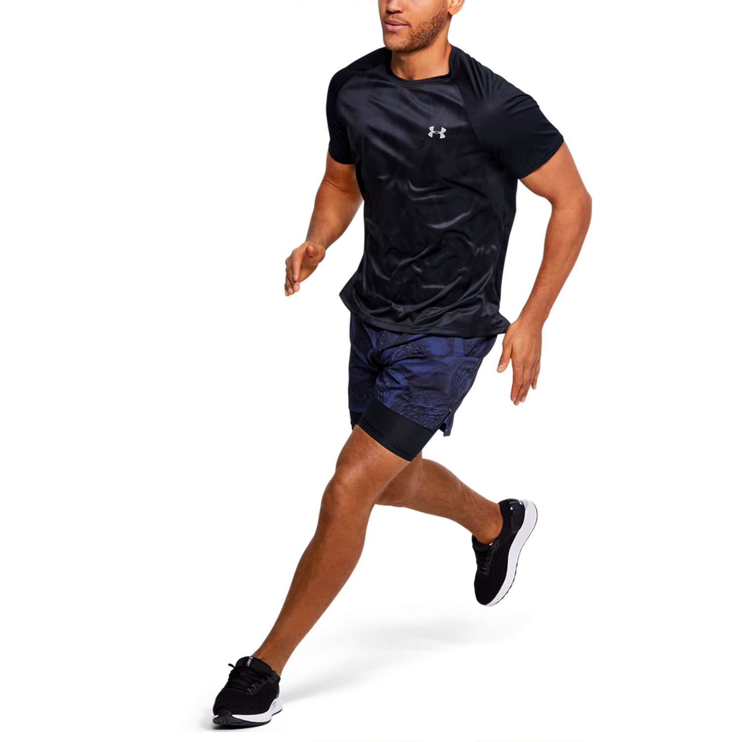 Under Armour Qualifier Iso-Chill Printed T-shirt - Black