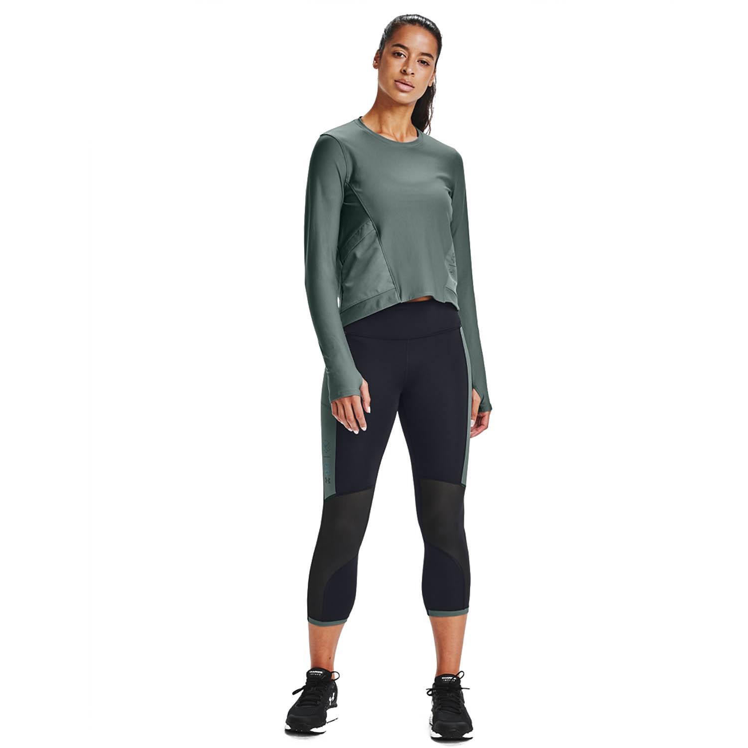 Under Armour Run Anywhere Crop Tights - Black/Reflective
