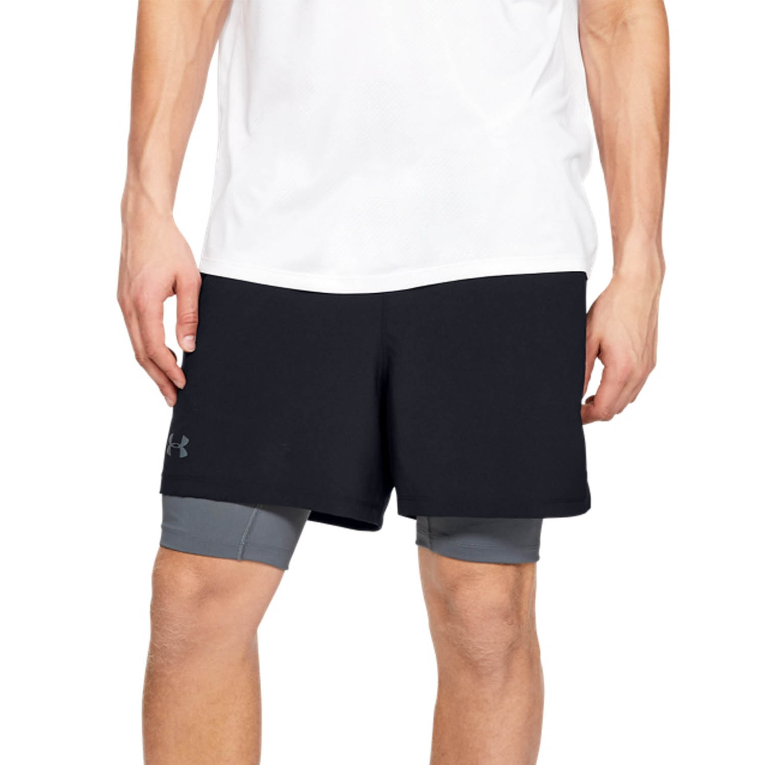 Under Armour Qualifier 2 in 1 5in Shorts - Black/Pitch Gray