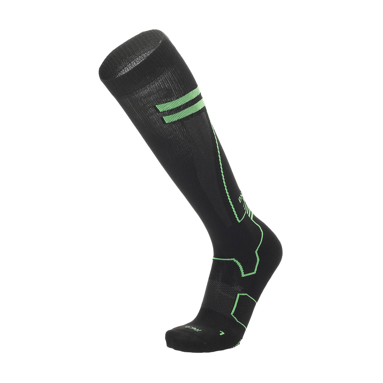 Mico Oxi-jet Medium Weight Compression Socks - Nero/Verde Fluo