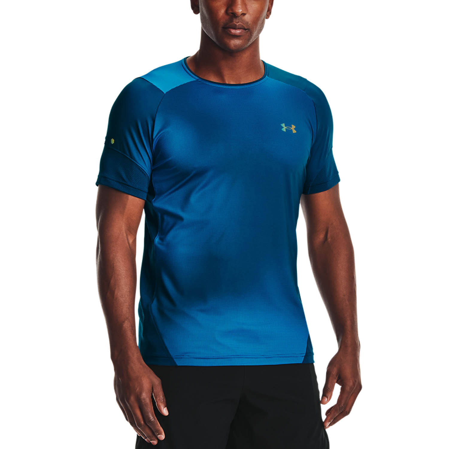 Under Armour HeatGear Rush 2.0 Print T-Shirt - Blue Circuit/Black