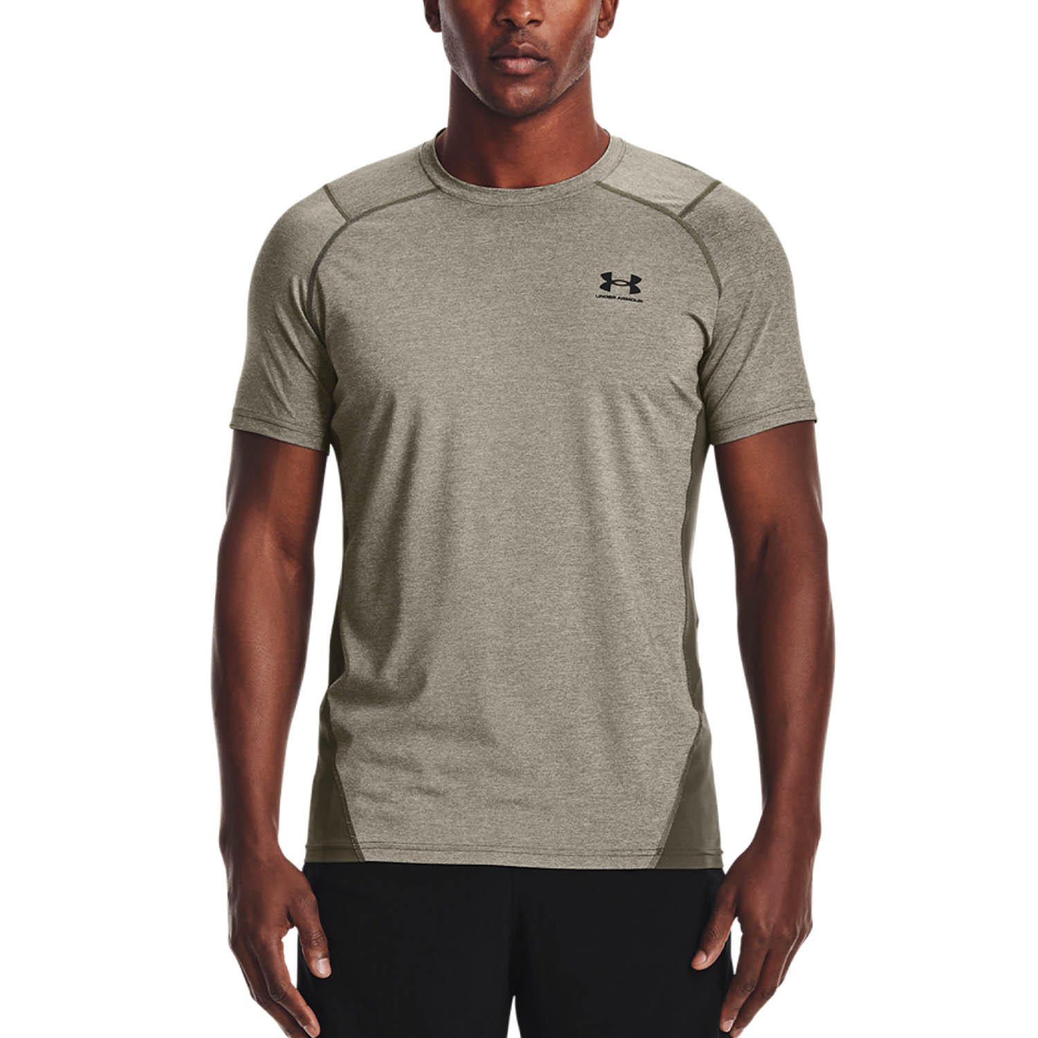 Under Armour HeatGear Knit T-Shirt - Victory Green Light Heather/Black