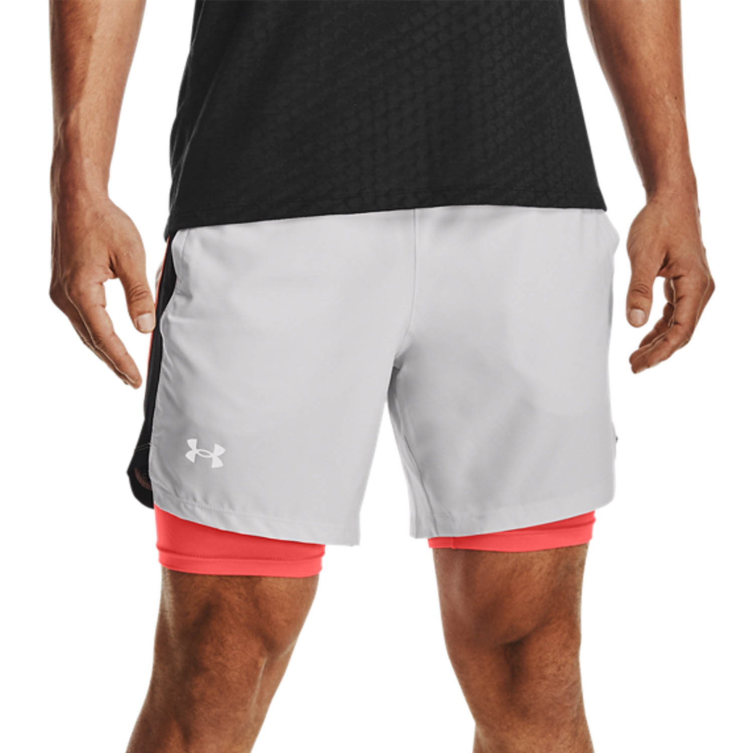 Under Armour Launch 2 in 1 7in Shorts - Halo Gray/Black/Reflective