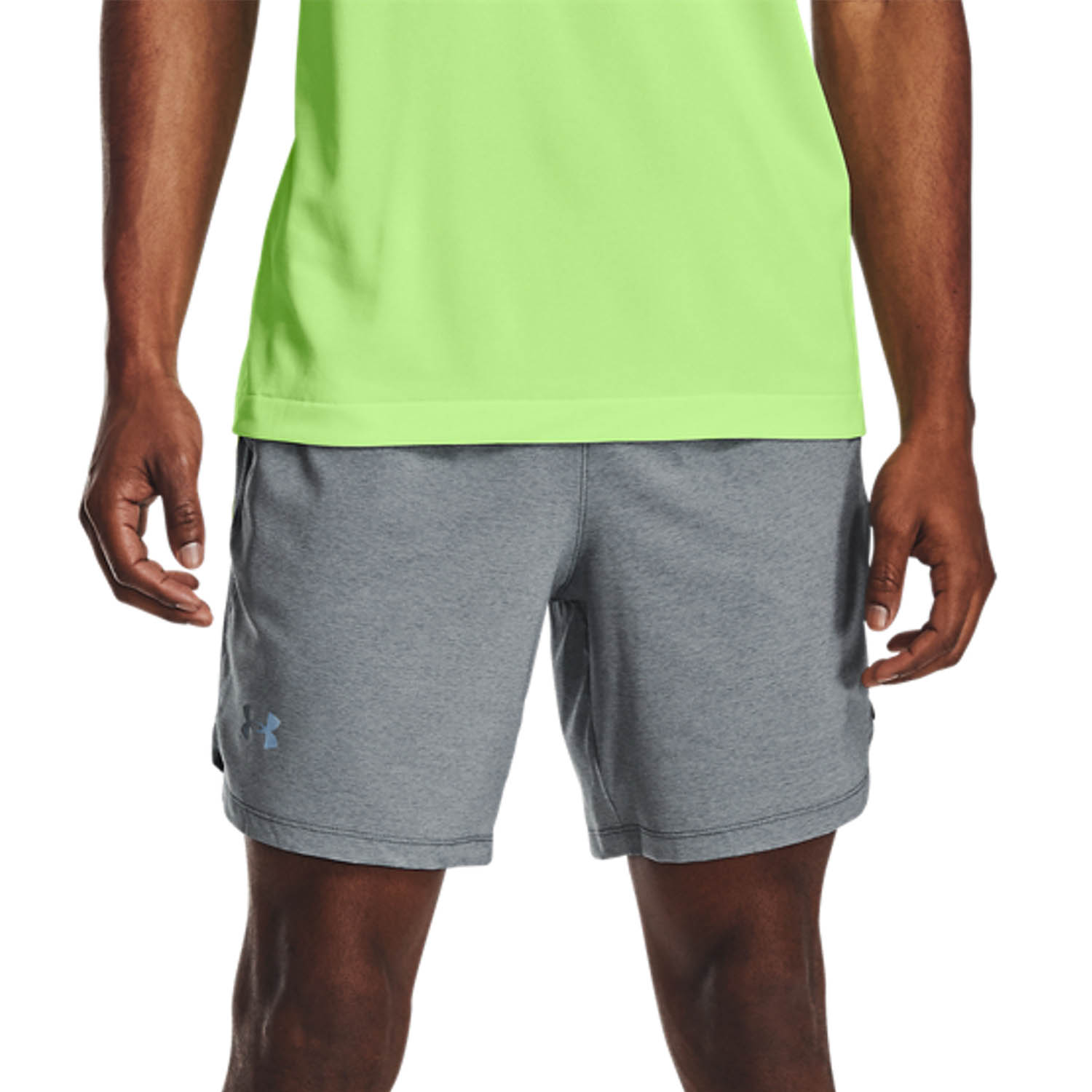 Under Armour Launch 7in Shorts - Pitch Gray/Full Heather/Hyper Green/Reflective