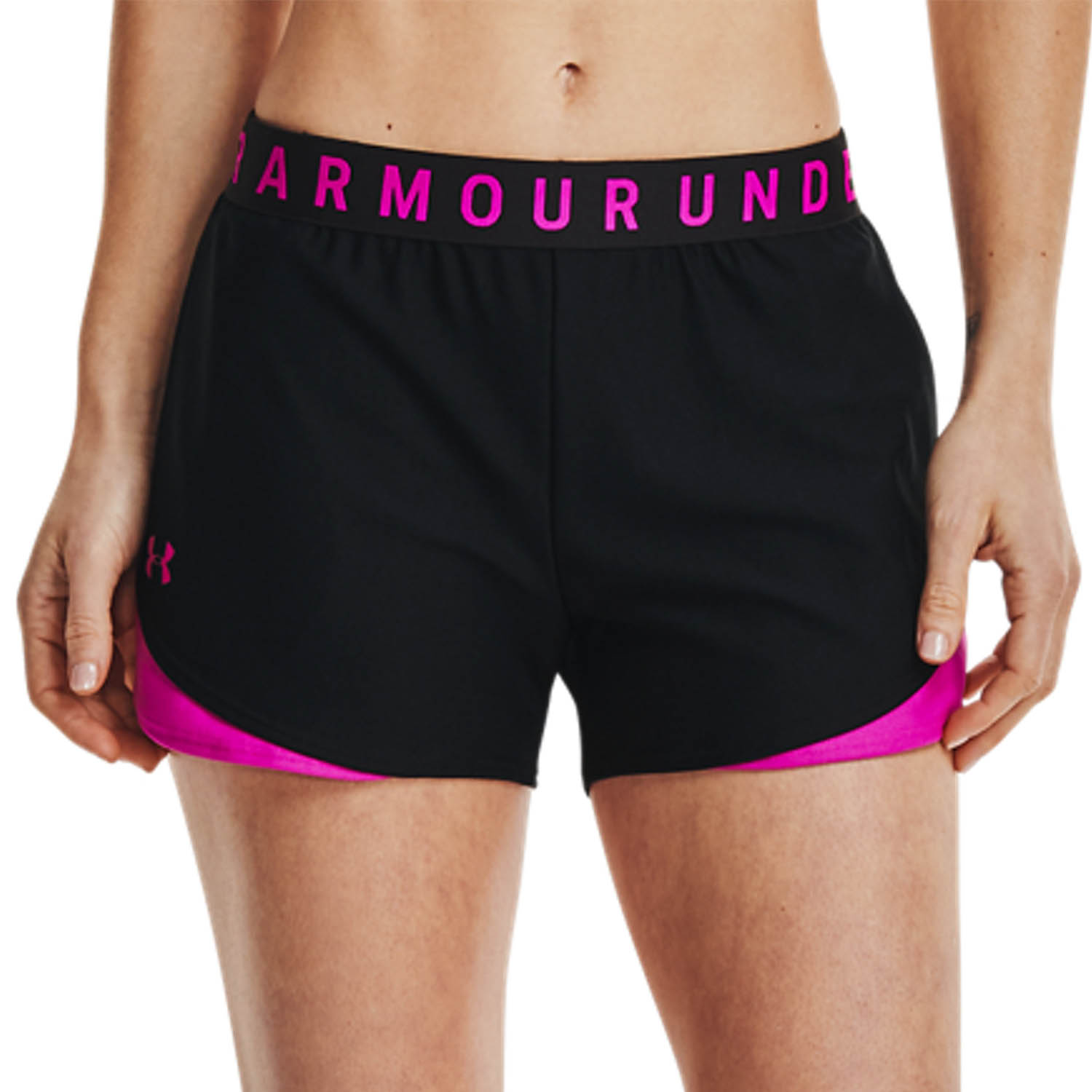Under Armour Play Up 3.0 3in Shorts - Black/Meteor Pink
