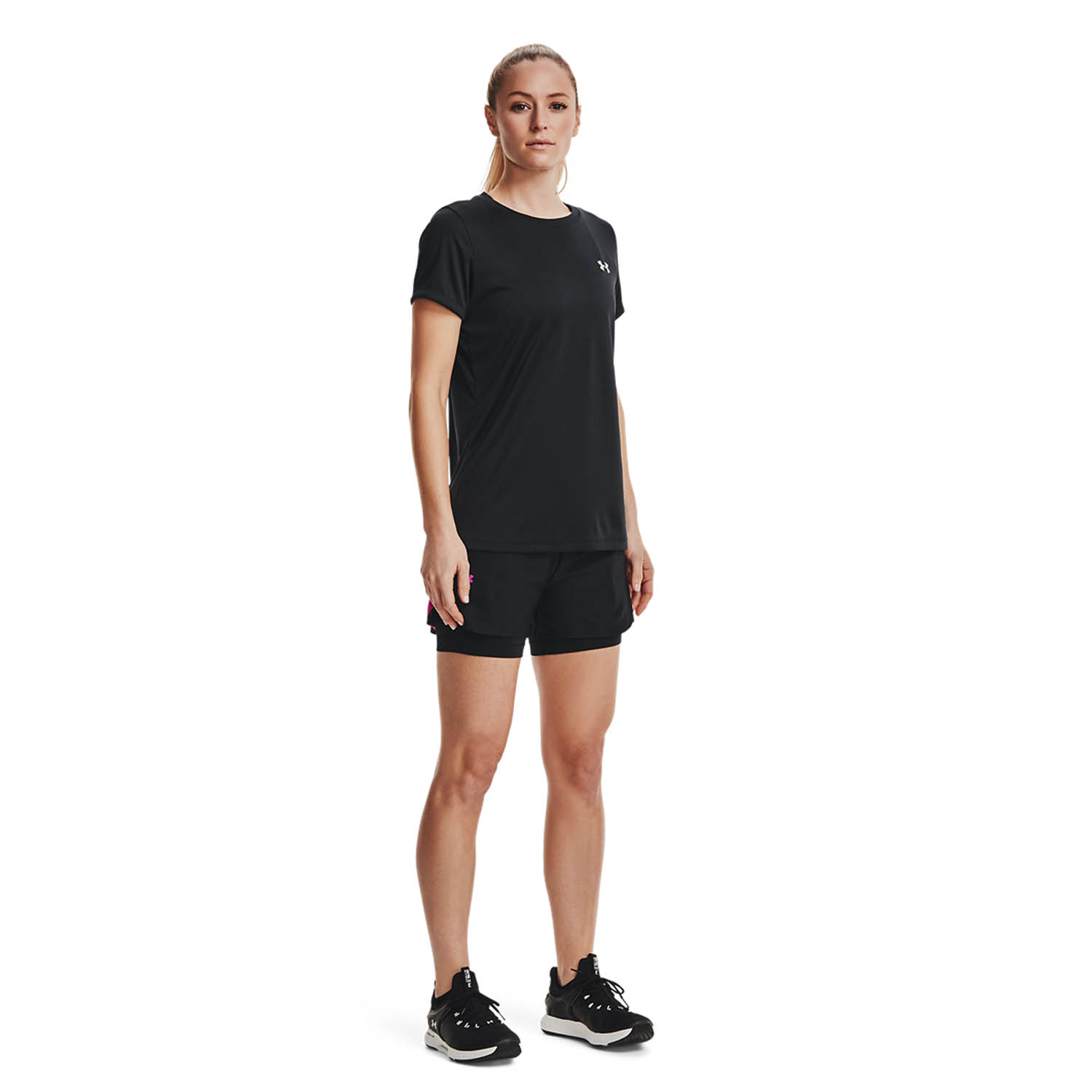 Under Armour Play Up 2 in 1 3in Shorts - Black/Meteor Pink