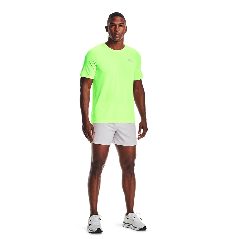 Under Armour Speedpocket 5in Shorts - Halo Gray/Hyper Green/Reflective