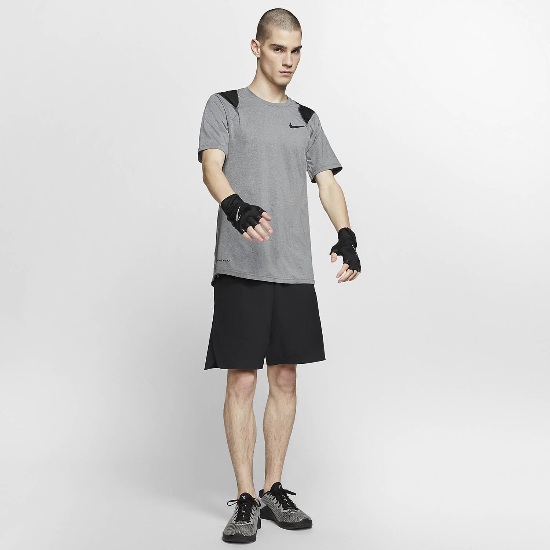 Nike Pro Logo T-Shirt - Smoke Grey/Heather/Black