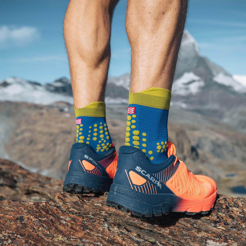 Compressport Pro Racing V3.0 Trail Socks - Blue/Lolite Lime