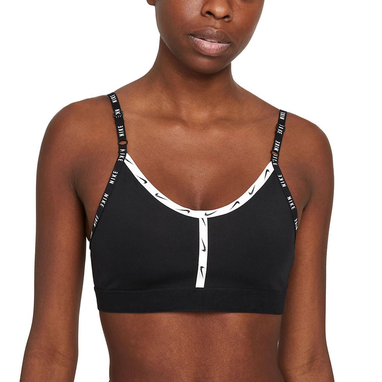 Nike Dri-FIT Indy Logo Tape Sports Bra - Black/White