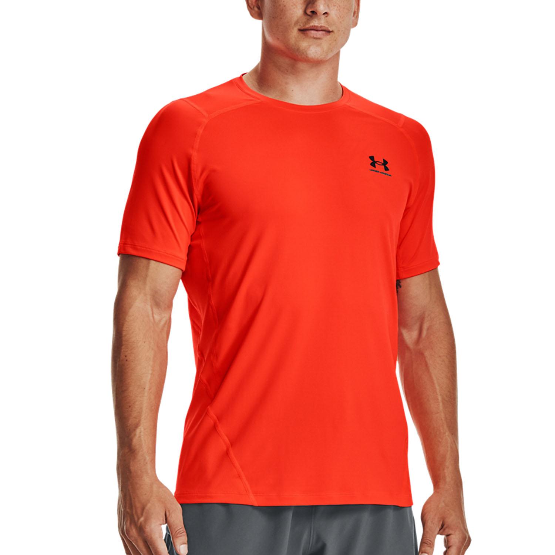 Under Armour HeatGear Knit T-Shirt - Phoenix Fire/Black