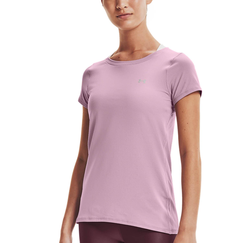 Under Armour HeatGear T-Shirt - Mauve Pink/Metallic Silver