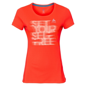 Women's Running T-Shirts Odlo Sliq Print TShirt  Fluo Orange 31236130405