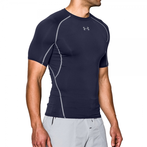 a26456b40 Under Armour HeatGear Armour Compression T-Shirt - Navy/Grey 1257468-0410