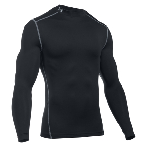 Men's Running Shirt Under Armour ColdGear Compression Mock Shirt  Black/Grey 12656480001