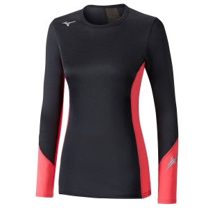 Women's Running Shirt Mizuno Virtual Body G2 Shirt  Black/Coral A2GA870596