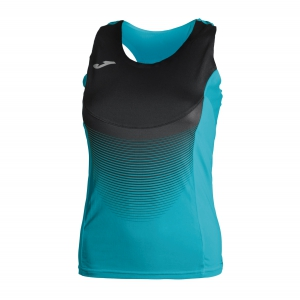 Women's Running Tank Top Joma Elite VI Tank  Turquoise/Black 900697.011