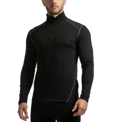 Mico Dualtech Merino 1/2 Zip Shirt - Nero/Grigio