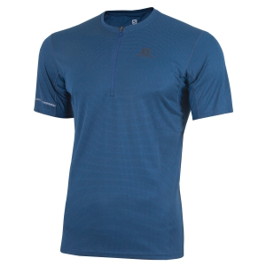 Men's Running T-Shirt Salomon Agile 1/2 Zip TShirt  Petrol LC1227400