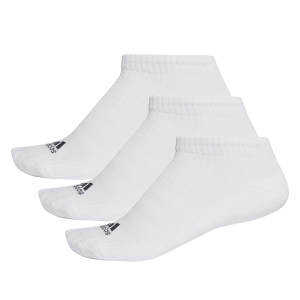 Calze Running Adidas Running 3 Stripes Cushioned NoShow x 3 Socks  White AA2279