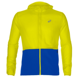 Giacca Running Uomo Asics Packable Hoodie Jacket  Yellow/Blue 2011A045.750