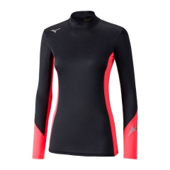 Mizuno Virtual Body G2 High Neck Shirt - Black/Coral