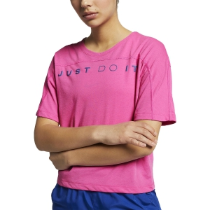 b04d9e98f5 Maglietta Running Donna Nike Miler Surf Maglietta Laser Fuchsia/Indigo  AQ5177686