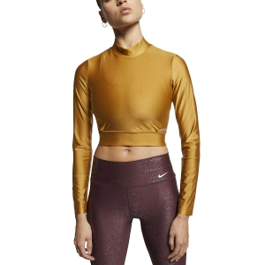 Women's Running Shirt Nike Training Tech Pack Shirt  Gold AT0595790