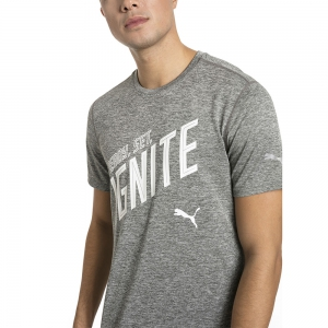 Puma Ignite Heather Graphic T-Shirt - Grey/White