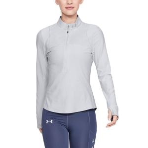 Women's Running Shirt Under Armour Qualifier Half Zip Shirt  Halo Gray 13265120014