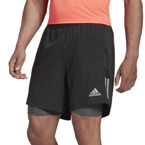 adidas Own The Run 2 in 1 5in Shorts - Black/Grey Six